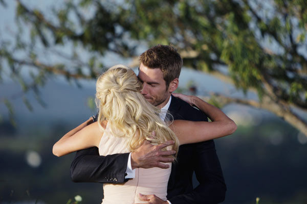 Brad Womack hugs the final bachelorette, Emily...