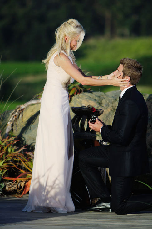 "<div class=""meta ""><span class=""caption-text "">Brad Womack gets on one knee to propose to Emily Maynard on the season 15 finale of 'The Bachelor,' which aired on Monday, March 14.  (ABC Photo/ Mark Wessels)</span></div>"
