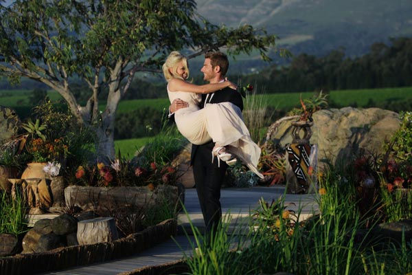 "<div class=""meta ""><span class=""caption-text "">Brad Womack carries his future wife, Emily Maynard into the sunset on the season 15 finale of 'The Bachelor,' which aired on Monday, March 14.  (ABC Photo/ Mark Wessels)</span></div>"
