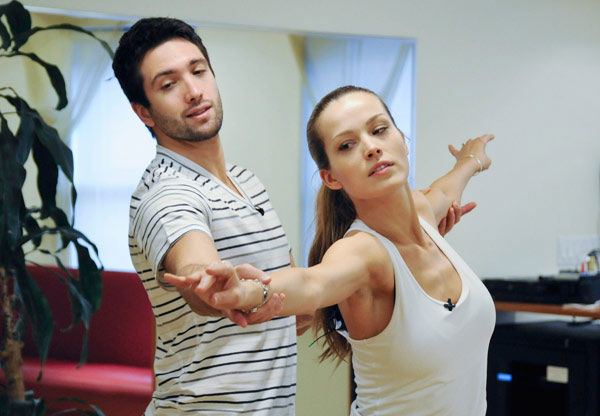 "<div class=""meta ""><span class=""caption-text "">Petra Nemcova, supermodel and founder of the Happy Hearts Fund after surviving the 2004 tsunami in Thaliand, practices her pose with partner Dmitry Chaplin during rehearsal for season 12 of 'Dancing with the Stars,' premieres on March 21 at 8 p.m. on ABC. (Photo/Donna Svennevik)</span></div>"