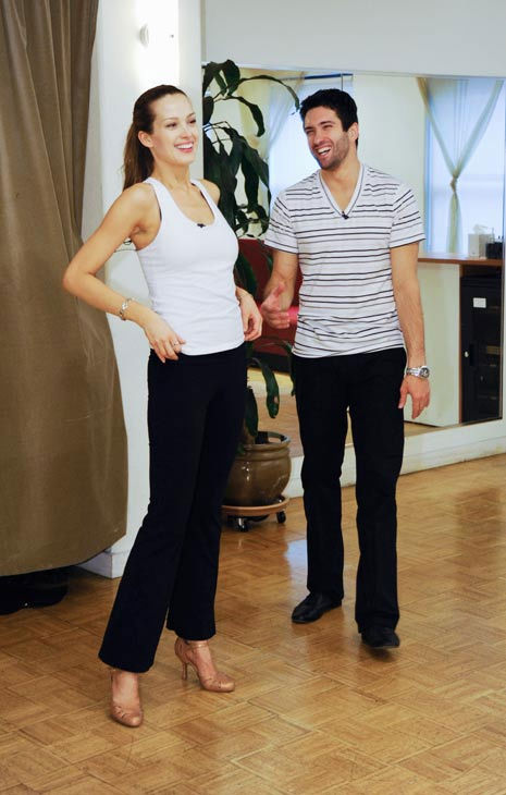 Petra Nemcova, supermodel and founder of the Happy Hearts Fund after surviving the 2004 tsunami in Thaliand, takes a break with partner Dmitry Chaplin during rehearsal for season 12 of &#39;Dancing with the Stars,&#39; premieres on March 21 at 8 p.m. on ABC. <span class=meta>(Photo&#47;Donna Svennevik)</span>