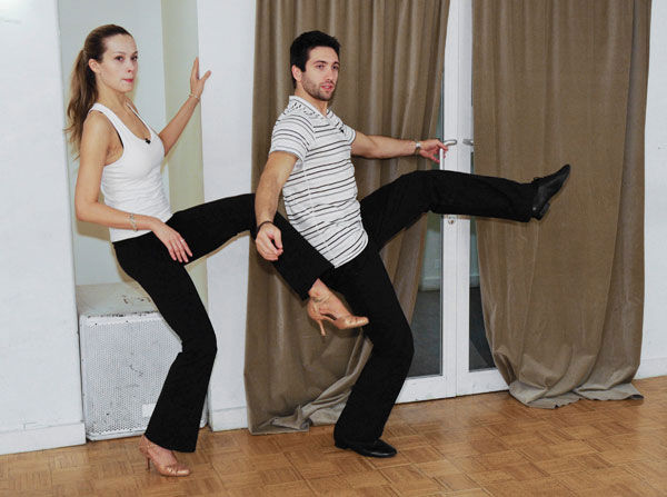 Petra Nemcova, supermodel and founder of the Happy Hearts Fund after surviving the 2004 tsunami in Thaliand, practices leg lifts with partner Dmitry Chaplin during rehearsal for season 12 of &#39;Dancing with the Stars,&#39; premieres on March 21 at 8 p.m. on ABC. <span class=meta>(Photo&#47;Donna Svennevik)</span>