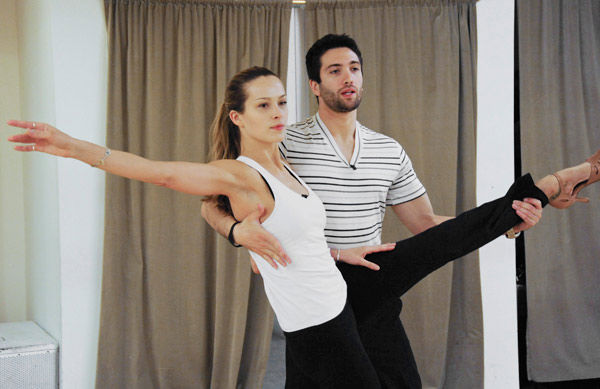 "<div class=""meta ""><span class=""caption-text "">Petra Nemcova, supermodel and founder of the Happy Hearts Fund after surviving the 2004 tsunami in Thaliand, tests her flexibility with partner Dmitry Chaplin during rehearsal for season 12 of 'Dancing with the Stars,' premieres on March 21 at 8 p.m. on ABC. (Photo/Donna Svennevik)</span></div>"