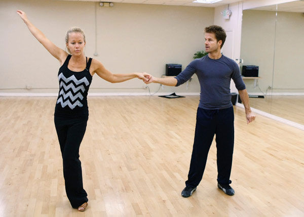 Kendra Wilkinson, reality star of E!&#39;s &#39;Kendra&#39; and formerly &#39;The Girls Next Door,&#39; demonstrates her finale pose with partner Louis Van Amstel during rehearsal for season 12 of &#39;Dancing with the Stars,&#39; premieres on March 21 at 8 p.m. on ABC. <span class=meta>(Photo&#47;Rick Rowell)</span>