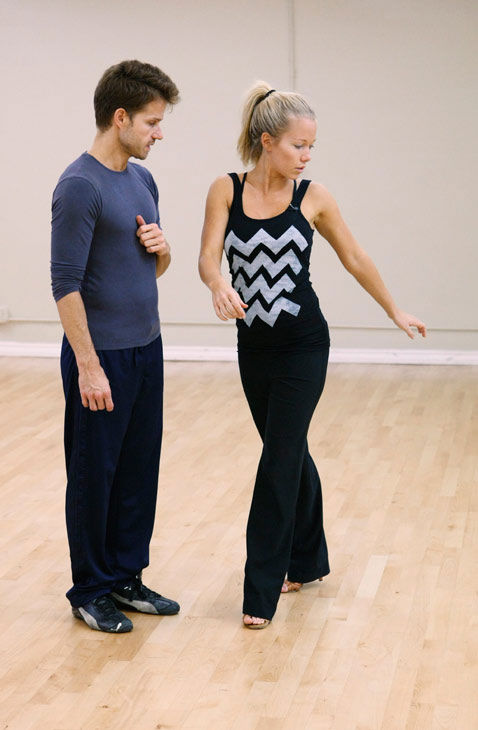 "<div class=""meta ""><span class=""caption-text "">Kendra Wilkinson, reality star of E!'s 'Kendra' and formerly 'The Girls Next Door,' learns some fancy footwork with partner Louis Van Amstel during rehearsal for season 12 of 'Dancing with the Stars,' premieres on March 21 at 8 p.m. on ABC. (Photo/Rick Rowell)</span></div>"
