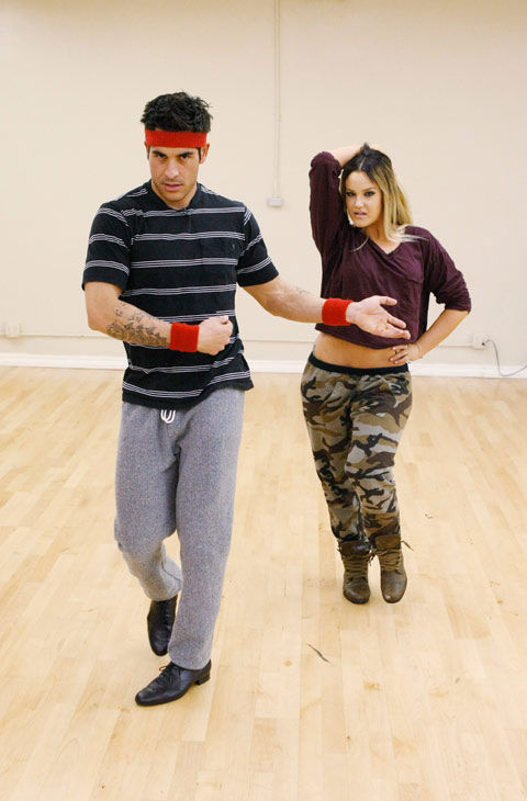 'Psycho' Mike Catherwood, KROQ-FM and Loveline Radio co-cost, shows off his mambo moves with partner Lacey Schwimmer during rehearsal for season 12 of 'Dancing with the Stars,' premieres on March 21 at 8 p.m. on ABC.