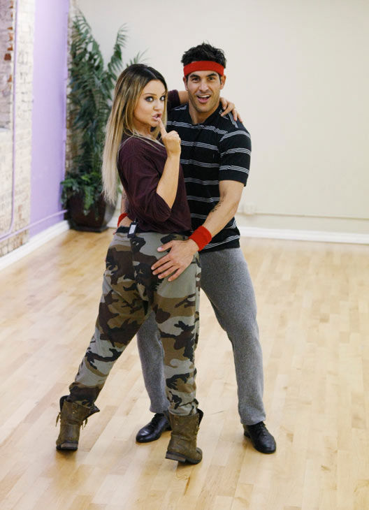 &#39;Psycho&#39; Mike Catherwood, KROQ-FM and Loveline Radio co-cost, tries some dirty dancing with partner Lacey Schwimmer during rehearsal for season 12 of &#39;Dancing with the Stars,&#39; premieres on March 21 at 8 p.m. on ABC. <span class=meta>(Photo&#47;Rick Rowell)</span>