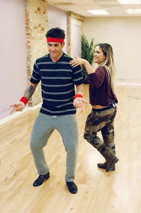 'Psycho' Mike Catherwood, KROQ-FM and Loveline Radio co-cost, shows off his moves with partner Lacey Schwimmer during rehearsal for season 12 of 'Dancing with the Stars,' premieres on March 21 at 8 p.m. on ABC.