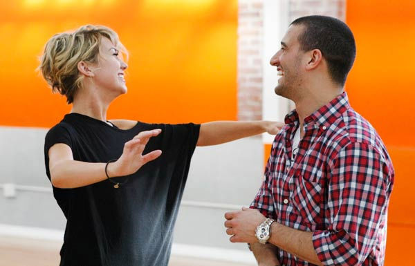 "<div class=""meta ""><span class=""caption-text "">Chelsea Kane, star of 'The Homes' web series and voice of Bea in Disney's 'Fish Hooks,' demonstrates her dance poses with partner Mark Ballas during rehearsal for season 12 of 'Dancing with the Stars,' premieres on March 21 at 8 p.m. on ABC. (Photo/Rick Rowell)</span></div>"
