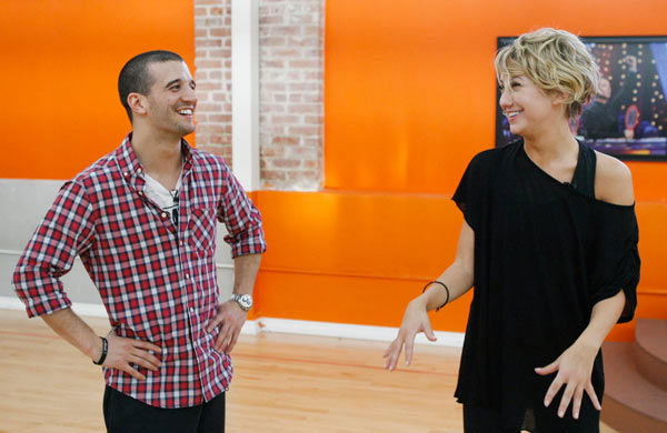 Chelsea Kane, star of &#39;The Homes&#39; web series and voice of Bea in Disney&#39;s &#39;Fish Hooks,&#39; takes a laughing break with partner Mark Ballas during rehearsal for season 12 of &#39;Dancing with the Stars,&#39; premieres on March 21 at 8 p.m. on ABC. <span class=meta>(Photo&#47;Rick Rowell)</span>
