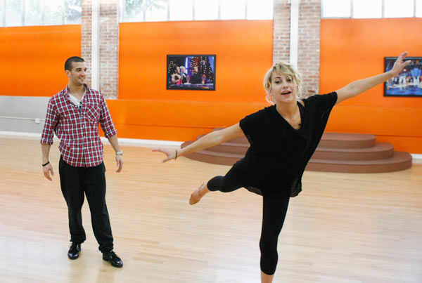 Chelsea Kane, star of &#39;The Homes&#39; web series and voice of Bea in Disney&#39;s &#39;Fish Hooks,&#39; demonstrates her balancing skills to partner Mark Ballas during rehearsal for season 12 of &#39;Dancing with the Stars,&#39; premieres on March 21 at 8 p.m. on ABC. <span class=meta>(Photo&#47;Rick Rowell)</span>