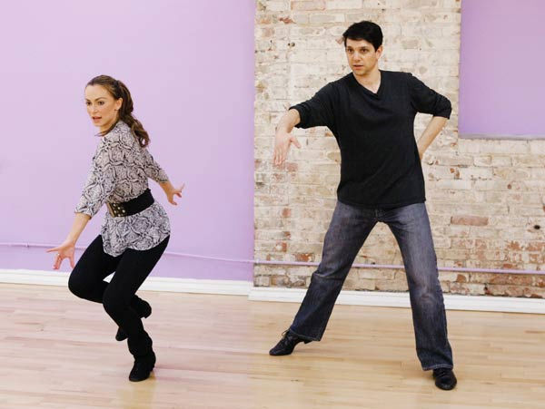 Ralph Macchio, star of the original &#34;The Karate Kid&#34; film, does the robot for his partner Karina Smirnoff during rehearsal for season 12 of &#39;Dancing with the Stars,&#39; premieres on March 21 at 8 p.m. on ABC. <span class=meta>(Photo&#47;Rick Rowell)</span>