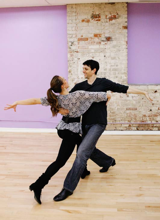 Ralph Macchio, star of the original &#34;The Karate Kid&#34; film, gets a grip on his partner Karina Smirnoff during rehearsal for season 12 of &#39;Dancing with the Stars,&#39; premieres on March 21 at 8 p.m. on ABC. <span class=meta>(Photo&#47;Rick Rowell)</span>