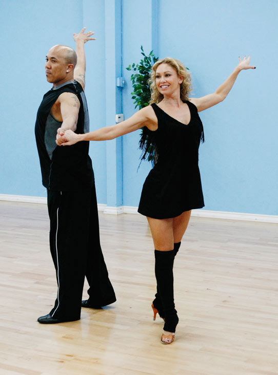 "<div class=""meta ""><span class=""caption-text "">Hines Ward, Steelers wide receiver and two-time Super Bowl Champion, does some grand gesturing with partner Kym Johnson during rehearsal for season 12 of 'Dancing with the Stars,' premieres on March 21 at 8 p.m. on ABC. (Photo/Rick Rowell)</span></div>"