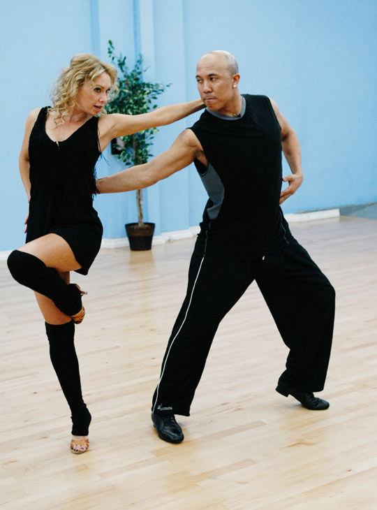 "<div class=""meta ""><span class=""caption-text "">Hines Ward, Steelers wide receiver and two-time Super Bowl Champion, shows off his dance moves with partner Kym Johnson during rehearsal for season 12 of 'Dancing with the Stars,' premieres on March 21 at 8 p.m. on ABC. (Photo/Rick Rowell)</span></div>"