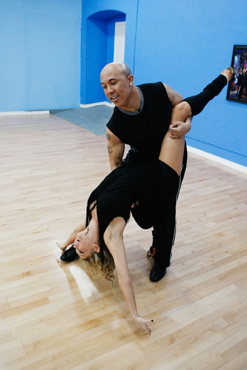 "<div class=""meta ""><span class=""caption-text "">Hines Ward, Steelers wide receiver and two-time Super Bowl Champion, dips his partner Kym Johnson during rehearsal for season 12 of 'Dancing with the Stars,' premieres on March 21 at 8 p.m. on ABC. (Photo/Rick Rowell)</span></div>"