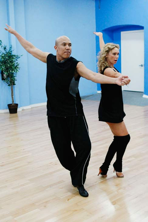 "<div class=""meta ""><span class=""caption-text "">Hines Ward, Steelers wide receiver and two-time Super Bowl Champion, spins out with his partner Kym Johnson during rehearsal for season 12 of 'Dancing with the Stars,' premieres on March 21 at 8 p.m. on ABC. (Photo/Rick Rowell)</span></div>"
