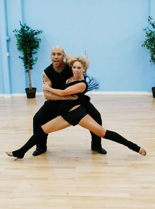 "<div class=""meta image-caption""><div class=""origin-logo origin-image ""><span></span></div><span class=""caption-text"">Hines Ward, Steelers wide receiver and two-time Super Bowl Champion, gets down with his partner Kym Johnson during rehearsal for season 12 of 'Dancing with the Stars,' premieres on March 21 at 8 p.m. on ABC.  (Photo/Rick Rowell)</span></div>"