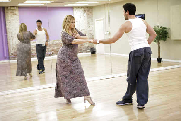 Kirstie Alley and partner Maksim Chmerkovskiy practice their dance moves during rehearsal for season 12 of 'Dancing with the Stars,' which premieres on March 21 at 8 p.m. on ABC.