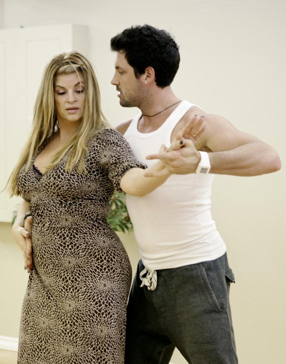 "<div class=""meta ""><span class=""caption-text "">Kirstie Alley, Emmy and Golden Globe-winning actress, gets saucy with her partner Maksim Chmerkovskiy during rehearsal for season 12 of 'Dancing with the Stars,' premieres on March 21 at 8 p.m. on ABC. (Photo/Adam Taylor)</span></div>"