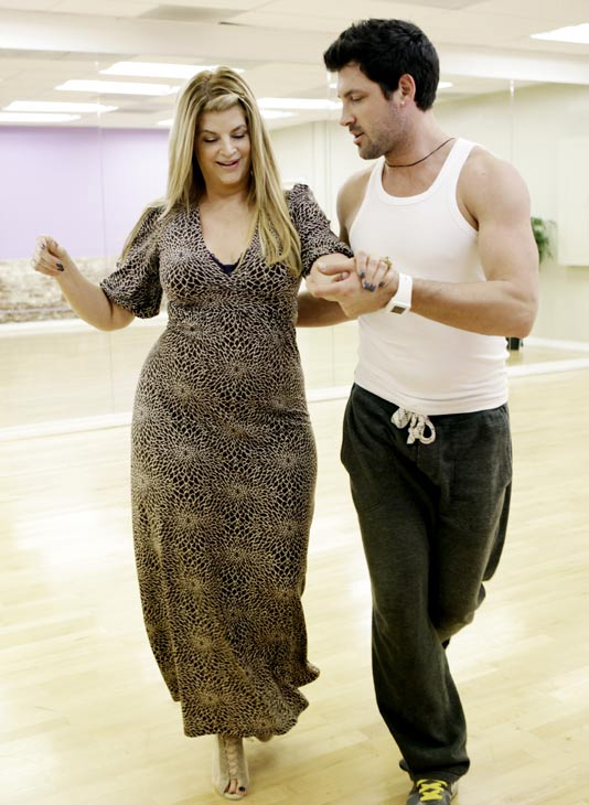 "<div class=""meta ""><span class=""caption-text "">Kirstie Alley, Emmy and Golden Globe-winning actress, practices her fancy footwork with her partner Maksim Chmerkovskiy during rehearsal for season 12 of 'Dancing with the Stars,' premieres on March 21 at 8 p.m. on ABC. (Photo/Adam Taylor)</span></div>"