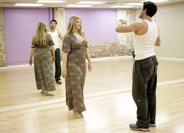 Kirstie Alley, Emmy and Golden Globe-winning actress, gets a dancing lesson from her partner Maksim Chmerkovskiy during rehearsal for season 12 of &#39;Dancing with the Stars,&#39; premieres on March 21 at 8 p.m. on ABC. <span class=meta>(Photo&#47;Adam Taylor)</span>