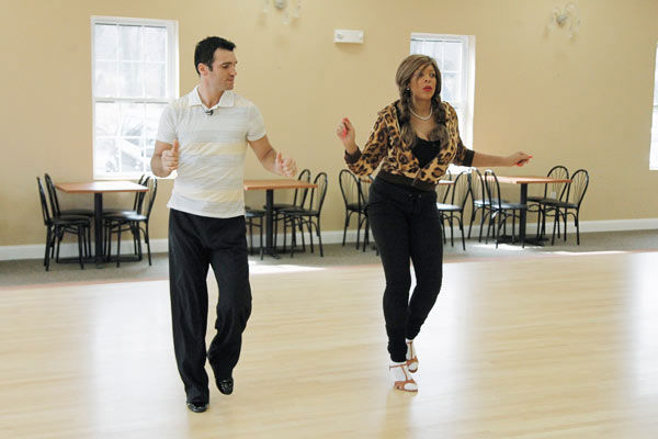 Wendy Williams, host of 'The Wendy Williams Show' practices her middle school dance stance with partner Tony Dovolani during rehearsal for season 12 of 'Dancing with the Stars,' premieres on March 21 at 8 p.m. on ABC.