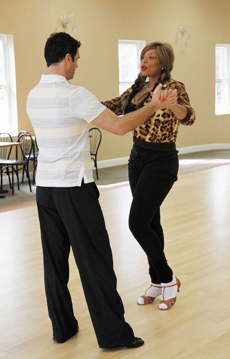 "<div class=""meta ""><span class=""caption-text "">Wendy Williams, host of 'The Wendy Williams Show' practices her middle school dance stance with partner Tony Dovolani during rehearsal for season 12 of 'Dancing with the Stars,' premieres on March 21 at 8 p.m. on ABC. (Photo/Lou Rocco)</span></div>"