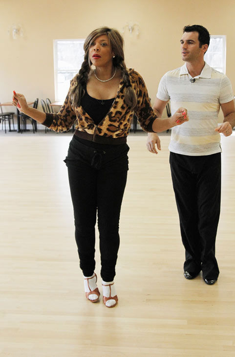"<div class=""meta ""><span class=""caption-text "">Wendy Williams, host of 'The Wendy Williams Show' practices her moves with partner Tony Dovolani during rehearsal for season 12 of 'Dancing with the Stars,' premieres on March 21 at 8 p.m. on ABC. (Photo/Lou Rocco)</span></div>"