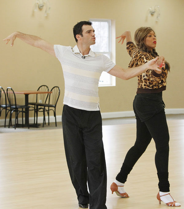 Wendy Williams, host of 'The Wendy Williams Show' tests out her dancing shoes with partner Tony Dovolani during rehearsal for season 12 of 'Dancing with the Stars,' premieres on March 21 at 8 p.m. on ABC.