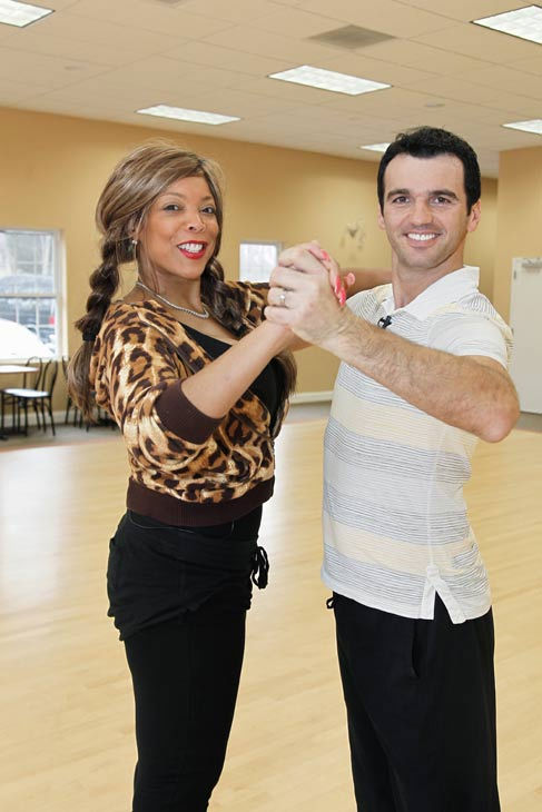 Wendy Williams, host of 'The Wendy Williams Show' joins hands with partner Tony Dovolani during rehearsal for season 12 of 'Dancing with the Stars,' premieres on March 21 at 8 p.m. on ABC.