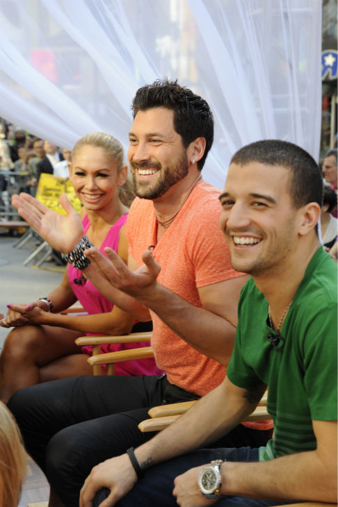 'Dancing With The Stars' Kym Johnson,Maksim Chmerkovskiy and Mark Ballas appear on ABC's 'Good Morning America' on May 25, 2011.