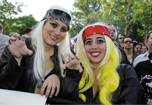 Fans watch Lady Gaga performing live in Central Park to kick off the 'GMA Summer Concert Series,' which aired on 'Good Morning America' on May 27, 2011.
