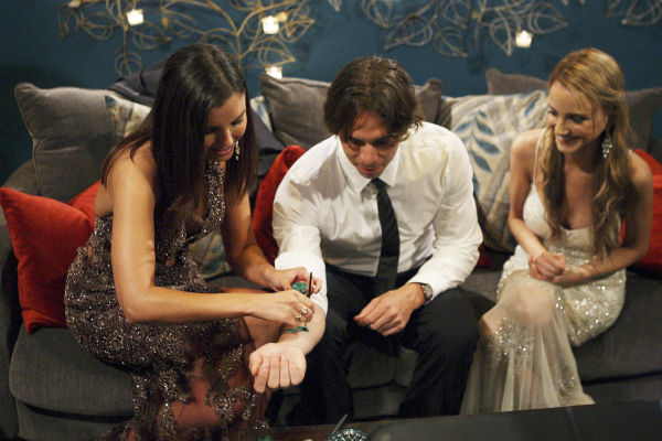 "<div class=""meta ""><span class=""caption-text "">Erika, Shira and Ben Flajnik appear in a scene from the premiere of the 16th season of ABC's 'The Bachelor,' which airs on Jan. 2, 2012. (ABC / Rick Rowell)</span></div>"