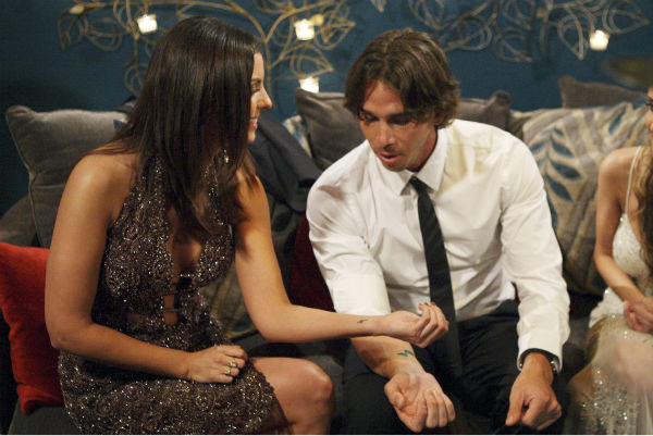 "<div class=""meta ""><span class=""caption-text "">Erika and Ben Flajnik appear in a scene from the premiere of the 16th season of ABC's 'The Bachelor,' which airs on Jan. 2, 2012. (ABC / Rick Rowell)</span></div>"
