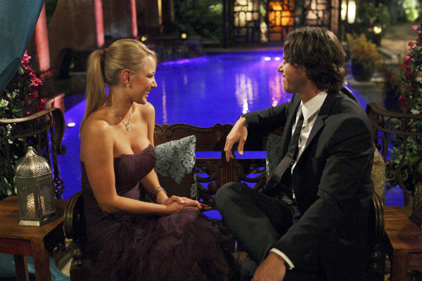 "<div class=""meta ""><span class=""caption-text "">Monica and Ben Flajnik appear in a scene from the premiere of the 16th season of ABC's 'The Bachelor,' which airs on Jan. 2, 2012. (ABC / Rick Rowell)</span></div>"