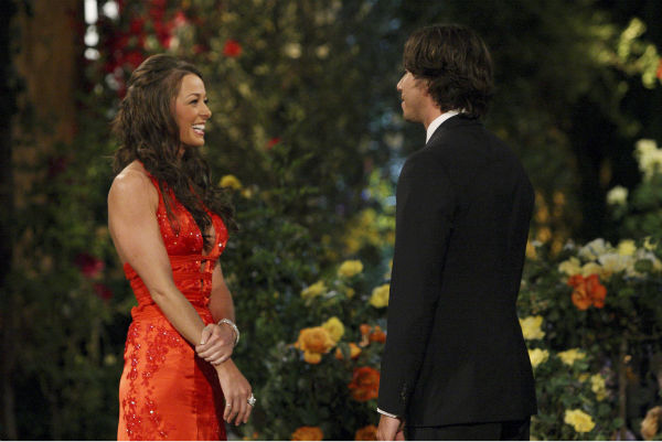 "<div class=""meta ""><span class=""caption-text "">Jamie and Ben Flajnik appear in a scene from the premiere of the 16th season of ABC's 'The Bachelor,' which airs on Jan. 2, 2012. (ABC / Rick Rowell)</span></div>"