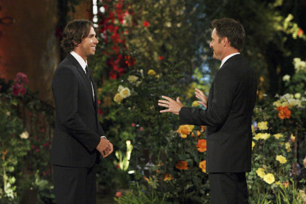 "<div class=""meta ""><span class=""caption-text "">Chris Harrison and Ben Flajnik appear in a scene from the premiere of the 16th season of ABC's 'The Bachelor,' which airs on Jan. 2, 2012. (ABC / Rick Rowell)</span></div>"