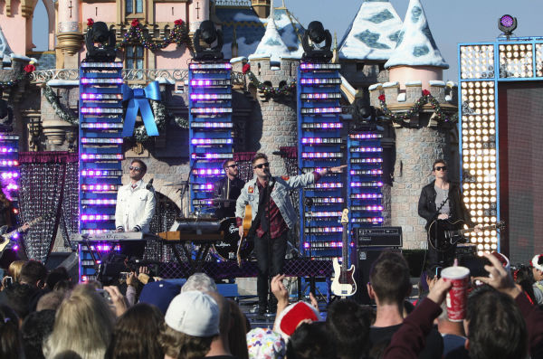 "<div class=""meta image-caption""><div class=""origin-logo origin-image ""><span></span></div><span class=""caption-text"">The band OneRepublic appears at the 2011 Disney Parks Christmas Day Parade at Disneyland in Anaheim, California, on Nov. 5, 2011. The show airs Christmas Day, at various times across the country, on ABC.  (Disneyland / Paul Hiffmeyer)</span></div>"