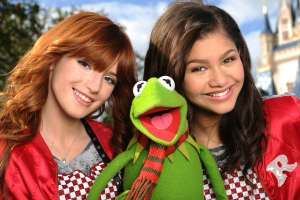 Zendaya Coleman and Bella Thorne from the 'Disney Channel' series 'Shake I Up!' and Kermit the Frog appear at the 2011 Disney Parks Christmas Day Parade at Walt Disney World's Magic Kingdom in Florida. The special airs Christmas Day, at various times acro
