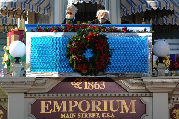 Statler and Waldorf appear at the 2011 Disney Parks Christmas Day Parade at Walt Disney World's Magic Kingdom in Florida. The special airs Christmas Day, at various times across the country, on ABC.