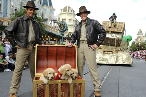 Puppies appear at the 2011 Disney Parks Christmas Day Parade at Walt Disney World's Magic Kingdom in Florida. The special airs Christmas Day, at various times across the country, on ABC.