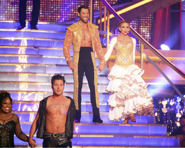 "<div class=""meta ""><span class=""caption-text "">Melissa Gilbert, a former child star who played Laura on 'Little House on the Prairie,' and her partner Maksim Chmerkovskiy received 22 out of 30 points from the judges for their Paso Doble on week 4 of 'Dancing With The Stars' on April 9, 2012. Also pictured: 'The View' co-host Sherri Shepherd and her partner Valentin Chmerkovskiy. (ABC Photo / Adam Taylor)</span></div>"