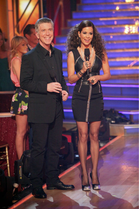 Hosts Tom Bergeron and Brooke Burke appear on week 4 of 'Dancing With The Stars' on April 9, 2012.