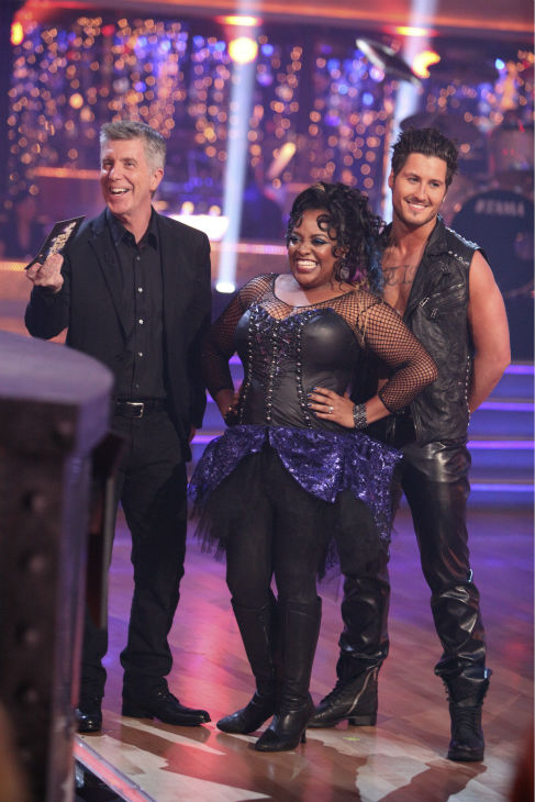 'The View' co-host Sherri Shepherd and her partner Valentin Chmerkovskiy received 21 out of 30 points from the judges for their Tango on week 4 of 'Dancing With The Stars' on April 9, 2012.