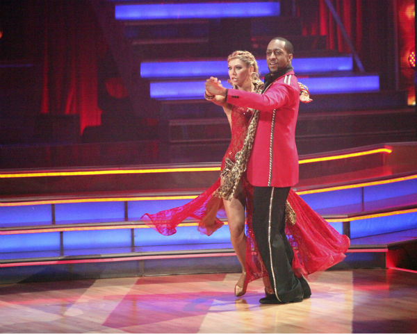 "<div class=""meta image-caption""><div class=""origin-logo origin-image ""><span></span></div><span class=""caption-text"">Jaleel White, who played Steve Urkel on 'Family Matters,' and his partner Kym Johnson received 22 out of 30 points from the judges for their Tango on week 4 of 'Dancing With The Stars' on April 9, 2012. (ABC Photo / Adam Taylor)</span></div>"