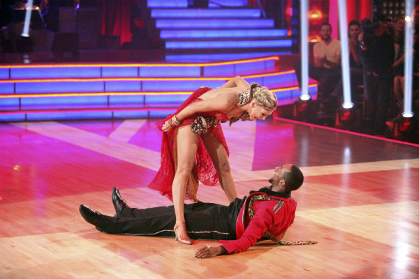 "<div class=""meta ""><span class=""caption-text "">Jaleel White, who played Steve Urkel on 'Family Matters,' and his partner Kym Johnson received 22 out of 30 points from the judges for their Tango on week 4 of 'Dancing With The Stars' on April 9, 2012. (ABC Photo / Adam Taylor)</span></div>"