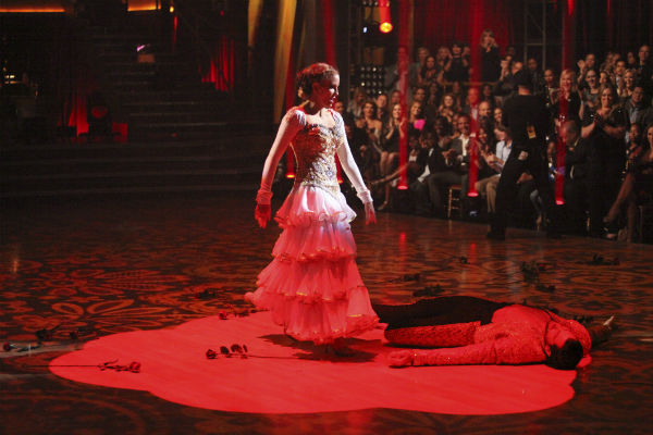Melissa Gilbert, a former child star who played Laura on 'Little House on the Prairie,' and her partner Maksim Chmerkovskiy received 22 out of 30 points from the judges for their Paso Doble on week 4 of 'Dancing With The Stars' on April 9, 2012.