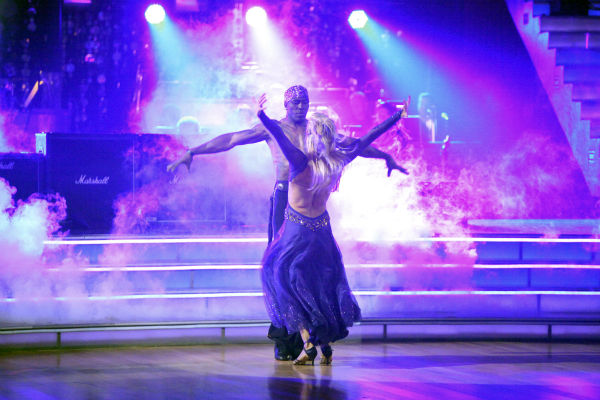Football star Donald Driver and his partner Peta Murgatroyd received 27 out of 30 points from the judges for their Paso Doble on week 4 of &#39;Dancing With The Stars&#39; on April 9, 2012. <span class=meta>(ABC Photo &#47; Adam Taylor)</span>