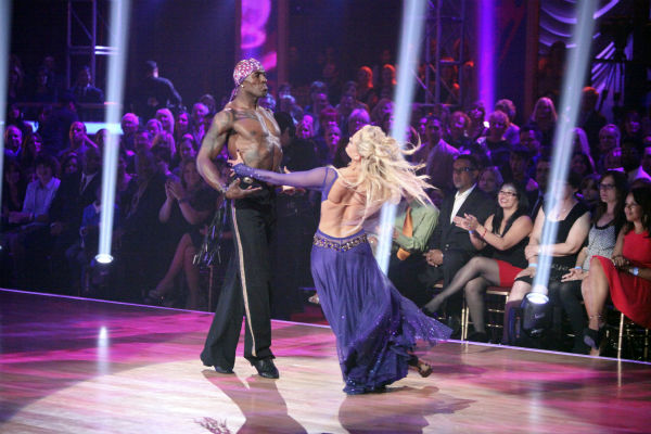 Football star Donald Driver and his partner Peta Murgatroyd received 27 out of 30 points from the judges for their Paso Doble on week 4 of 'Dancing With The Stars' on April 9, 2012.